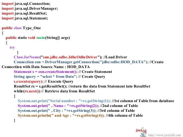 Jdbc example program with access and MySql