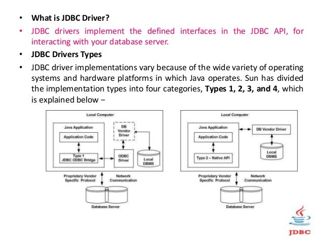• What is JDBC Driver? • JDBC drivers implement the defined interfaces in the JDBC API, for interacting with your database...