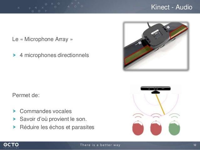 12 Le « Microphone Array » 4 microphones directionnels Permet de: Commandes vocales Savoir d'où provient le son. Réduire l...