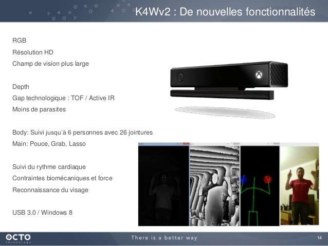 14 K4Wv2 : De nouvelles fonctionnalités RGB Résolution HD Champ de vision plus large Depth Gap technologique : TOF / Activ...