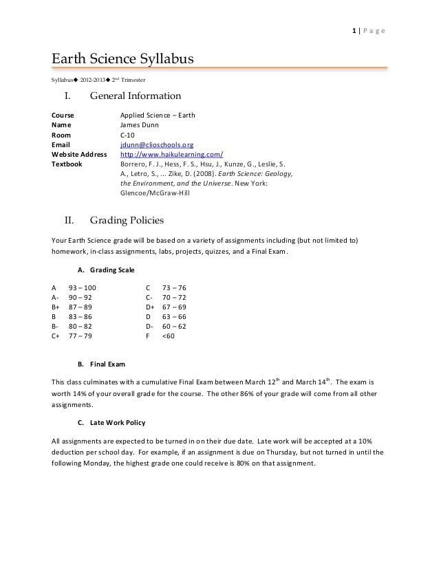 1 | P a g e  Earth Science Syllabus Syllabus 2012-2013 2nd Trimester           I.            General Information...