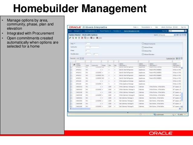 Jd edwards enterpriseone homebuilder management for Homebuilder com