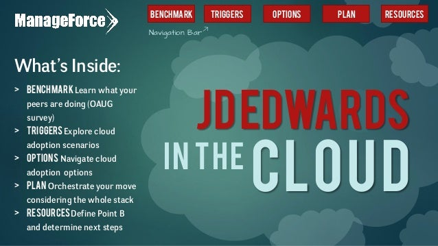 JDEDWARDS CLOUDIN THE What's Inside: > BenchmarkLearn what your peers are doing (OAUG survey) > TriggersExplore cloud adop...