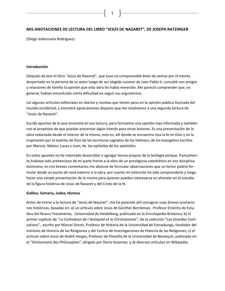 """MIS ANOTACIONES DE LECTURA DEL LIBRO """"JESÚS DE NAZARET"""", DE JOSEPH RATZINGER   <br />(Diego Valenzuela Rodríguez)<br />Int..."""
