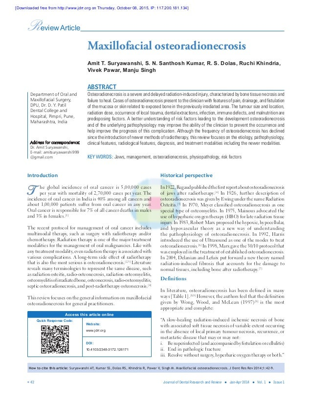  42 Journal of Dental Research and Review ● Jan-Apr 2014 ● Vol. 1 ● Issue 1 Introduction T he global incidence of oral ...