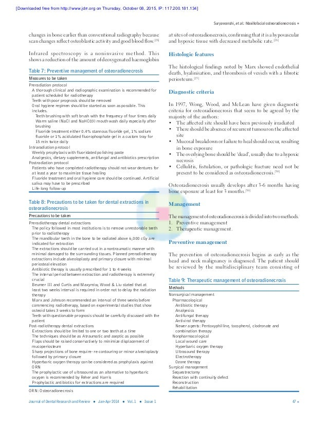 Suryawanshi, etal.: Maxillofacial osteoradionecrosis Journal of Dental Research and Review ● Jan-Apr 2014 ● Vol. 1 ● Issu...