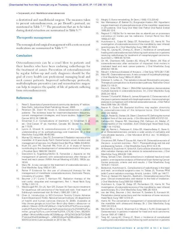 Suryawanshi, etal.: Maxillofacial osteoradionecrosis  48 Journal of Dental Research and Review ● Jan-Apr 2014 ● Vol. 1...