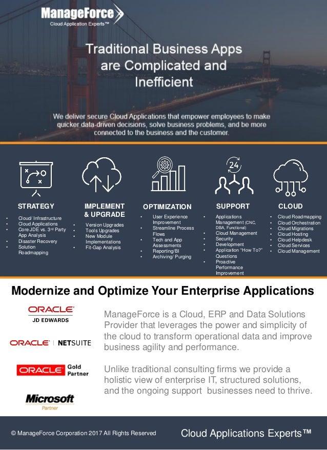 STRATEGY IMPLEMENT & UPGRADE OPTIMIZATION CLOUDSUPPORT • Cloud/ Infrastructure • Cloud Applications • Core JDE vs. 3rd Par...