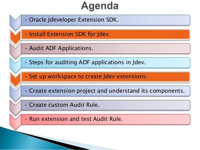 • Oracle Jdeveloper Extension SDK. • Install Extension SDK for Jdev.  • Audit ADF Applications. • Steps for auditing ADF a...