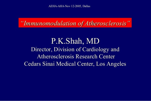 P.K.Shah, MD Director, Division of Cardiology and Atherosclerosis Research Center Cedars Sinai Medical Center, Los Angeles...