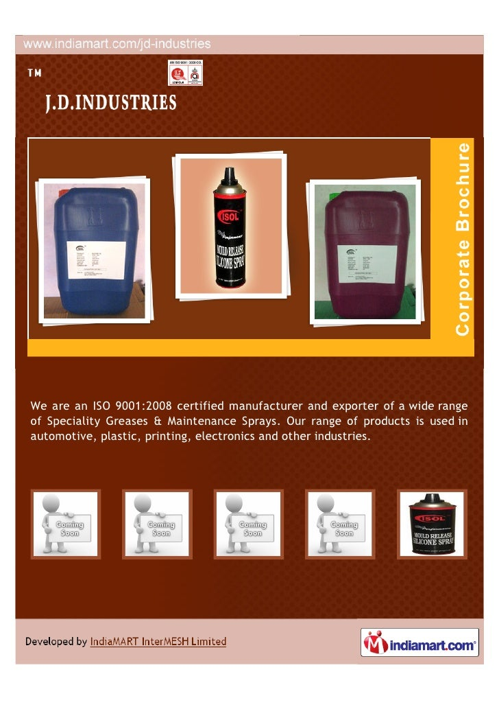We are an ISO 9001:2008 certified manufacturer and exporter of a wide rangeof Speciality Greases & Maintenance Sprays. Our...
