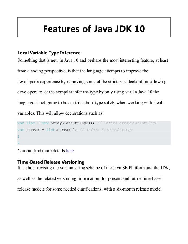 Features of JDK 10