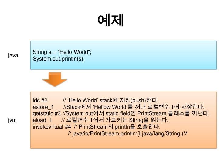 """예제<br />String s = """"Hello World"""";<br />System.out.println(s);<br />java<br />ldc #2          // 'Hello World' stack에 저장(pu..."""
