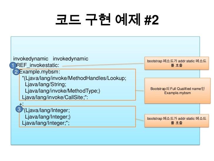 """코드 구현 예제 #2<br />invokedynamicinvokedynamic<br />REF_invokestatic:<br />Example.mybsm:<br />      """"(Ljava/lang/invoke/Meth..."""