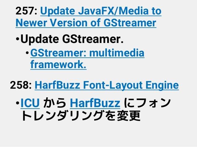257: Update JavaFX/Media to Newer Version of GStreamer •Update GStreamer. •GStreamer: multimedia framework. 258: HarfBuzz ...