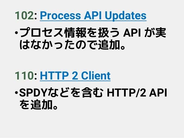 102: Process API Updates •プロセス情報を扱う API が実 はなかったので追加。 110: HTTP 2 Client •SPDYなどを含む HTTP/2 API を追加。