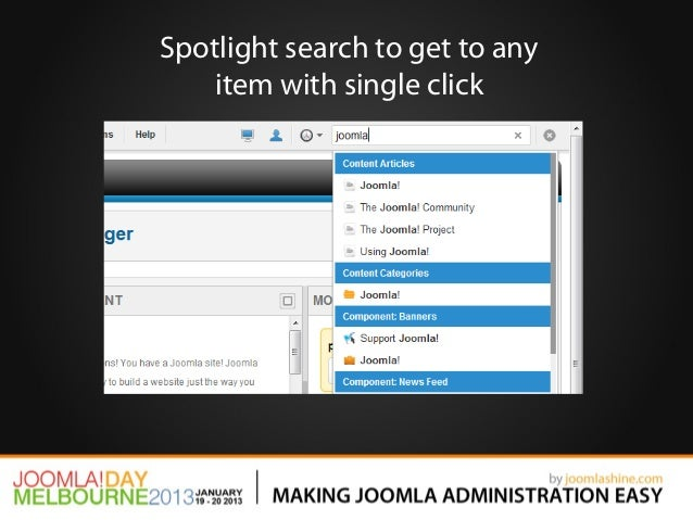 Spotlight search to get to any    item with single click