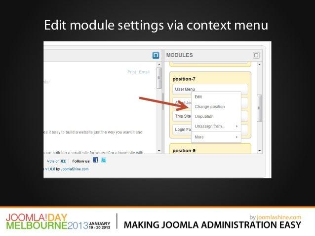Edit module settings via context menu