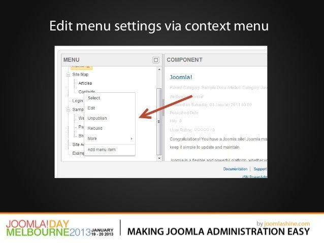 Edit menu settings via context menu