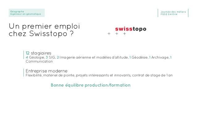Géographe Ingénieur en géomatique Journée des métiers FGSE 04-11-14 Un premier emploi chez Swisstopo ? 12 stagiaires 4 Géo...