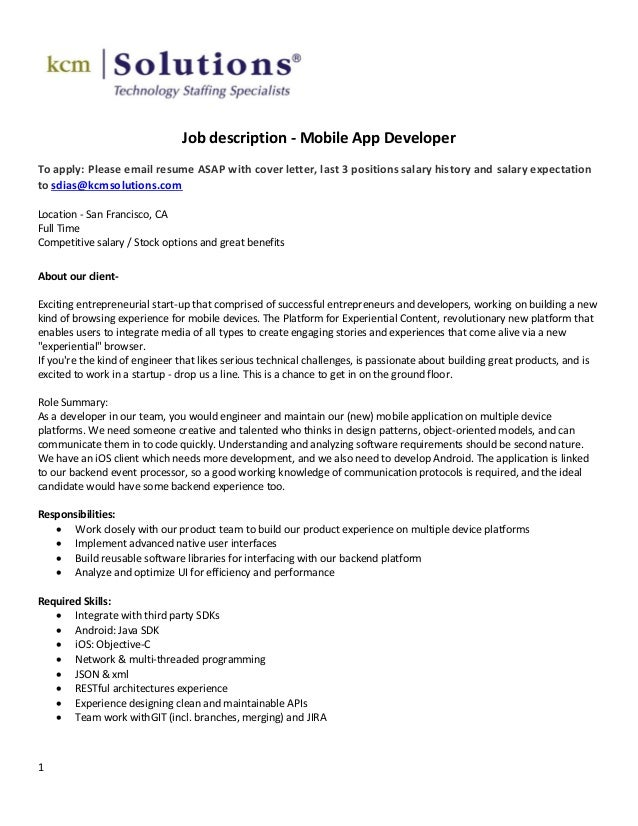 1job description mobile app developerto apply please email resume asap with cover letter - App Developer Job Description