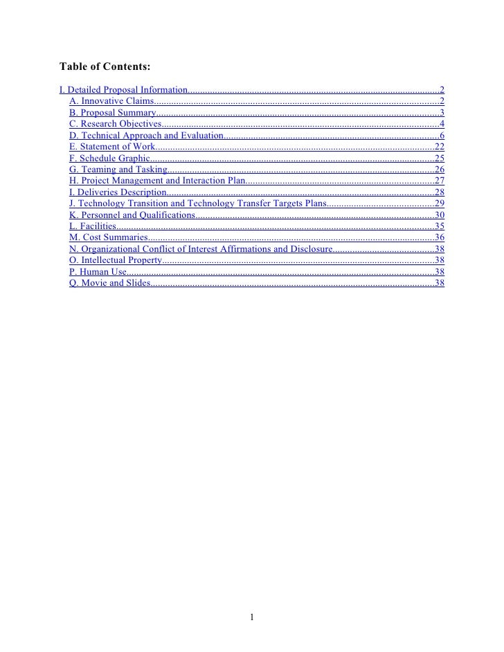 Table of Contents:  I. Detailed Proposal Information.........................................................................