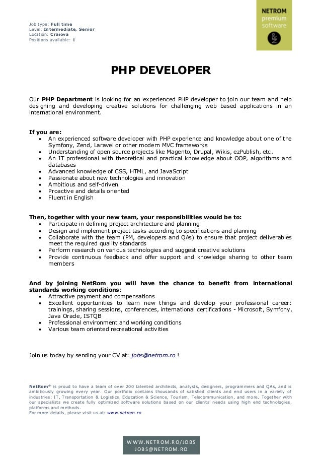 JD PHP Developer @NetRom