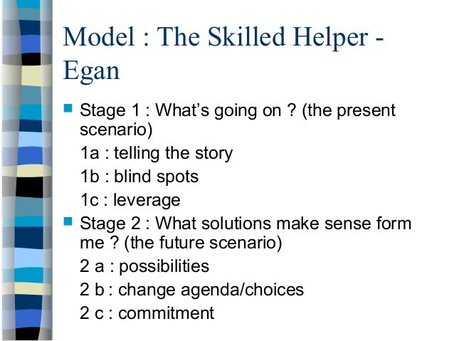 egan helping model Required texts: egan, gerard (2002) the skilled helper-ninth edition thomson  brooks/  summary of skills, counseling approaches, helping model and.