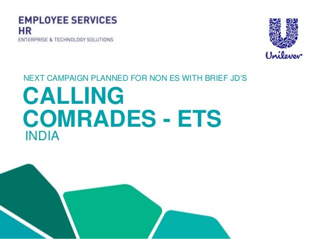 CALLING COMRADES - ETS INDIA NEXT CAMPAIGN PLANNED FOR NON ES WITH BRIEF JD'S