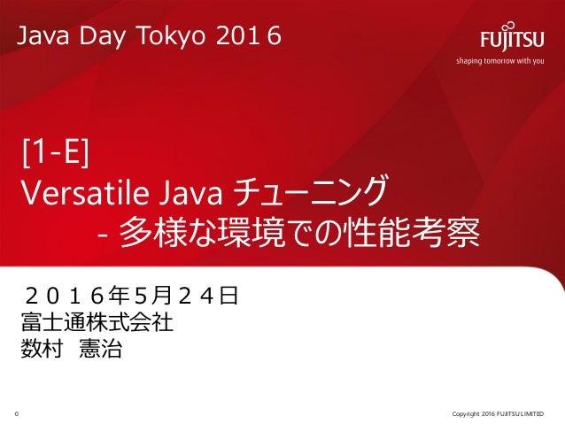 2016年5月24日 富士通株式会社 数村 憲治 [1-E] Versatile Java チューニング - 多様な環境での性能考察 Copyright 2016 FUJITSU LIMITED0 Java Day Tokyo 2016