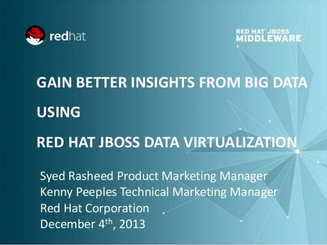 GAIN BETTER INSIGHTS FROM BIG DATA USING  RED HAT JBOSS DATA VIRTUALIZATION Syed Rasheed Product Marketing Manager Kenny P...