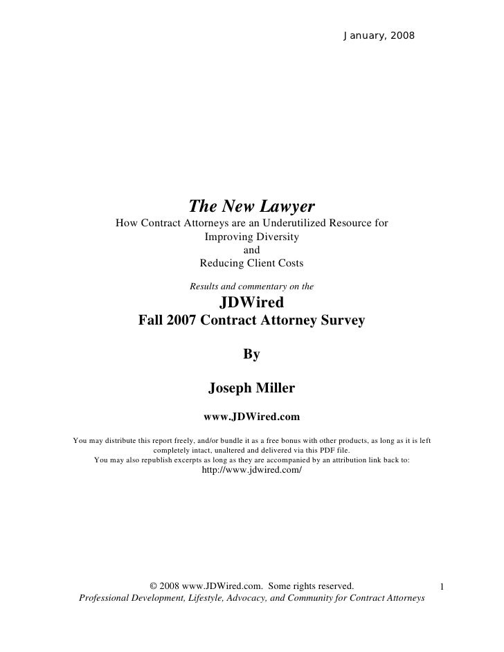 January, 2008                                         The New Lawyer              How Contract Attorneys are an Underutili...
