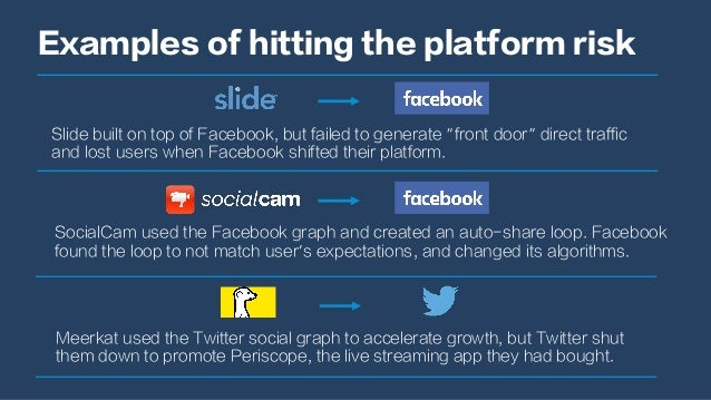 "Examples of hitting the platform risk Slide built on top of Facebook, but failed to generate ""front door"" direct traffic a..."