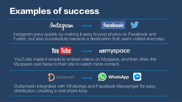 Examples of success Instagram grew quickly by making it easy to post photos on Facebook and Twitter, but also successfully...