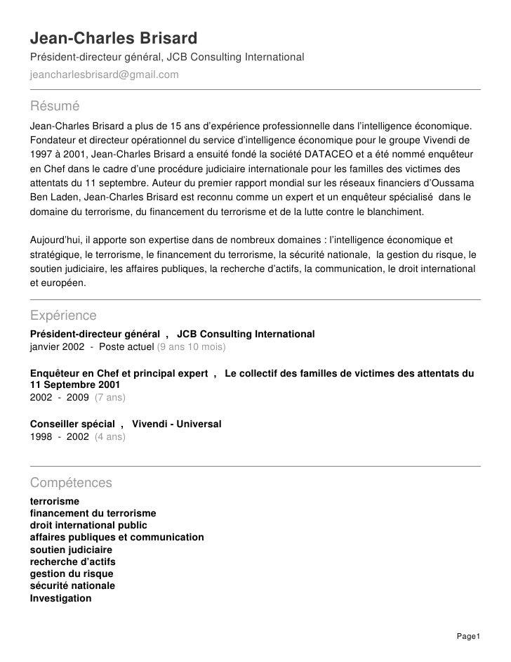 Jean-Charles BrisardPrésident-directeur général, JCB Consulting Internationaljeancharlesbrisard@gmail.comRésuméJean-Charle...
