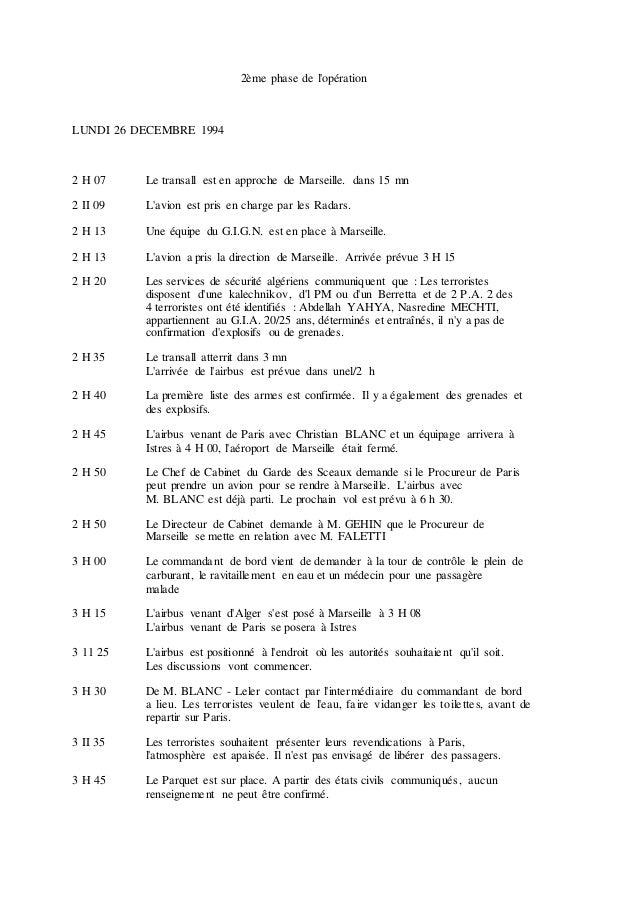 2ème phase de l'opération LUNDI 26 DECEMBRE 1994 2 H 07 Le transall est en approche de Marseille. dans 15 mn 2 II 09 L'avi...