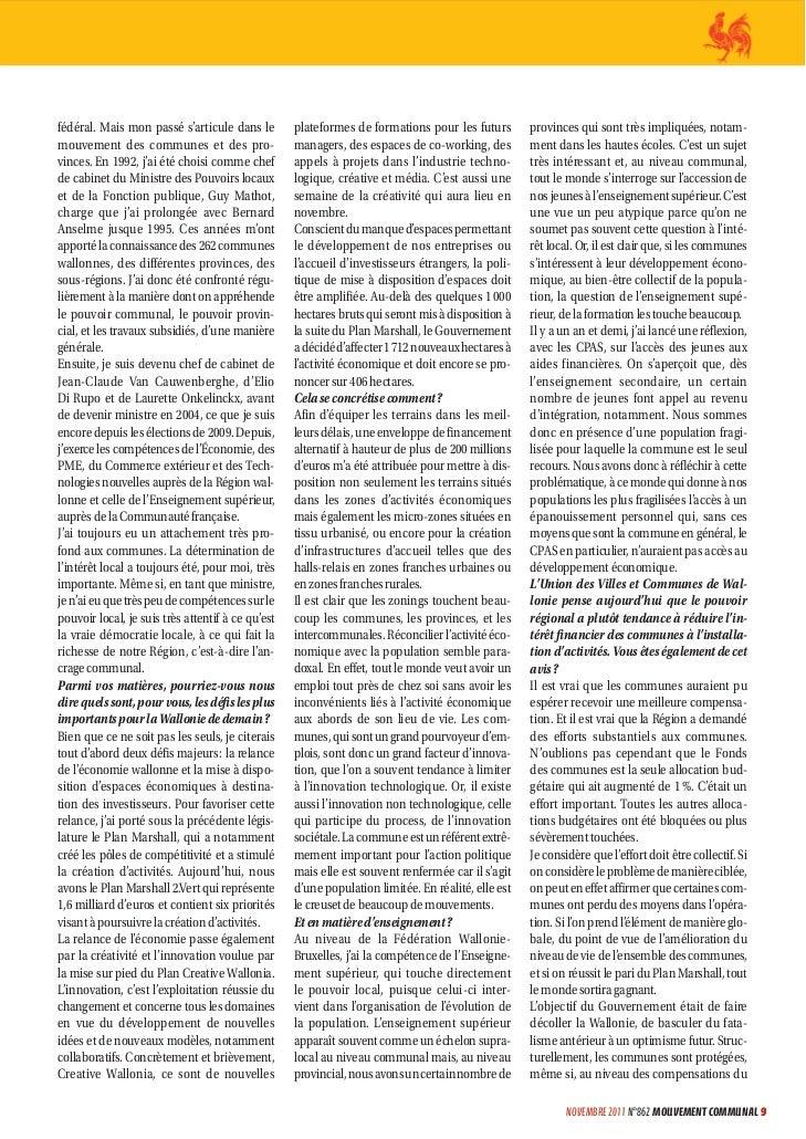 """Jean claude marcourt, vice-président, ministre de l'économie, des pme, du commerce extérieur, des technologies nouvelles et de l'enseignement supérieur - """"Basculer du fatalisme antérieur à un optimisme futur"""" Slide 2"""