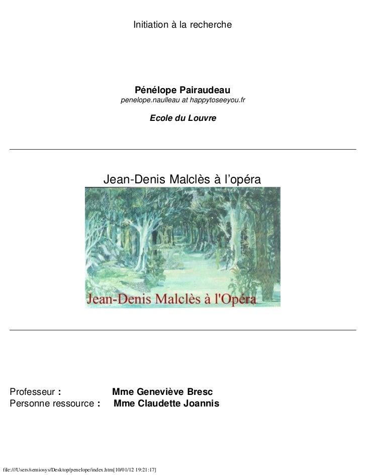 Initiation à la recherche                                                          Pénélope Pairaudeau                    ...