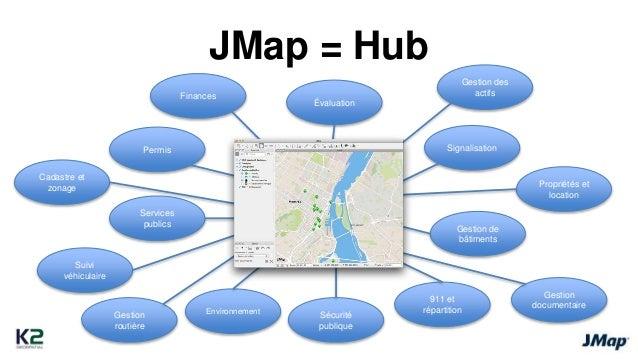 JMap = Hub  Gestion  documentaire  911 et  répartition  Sécurité  publique  Gestion Environnement  routière  Suivi  véhicu...