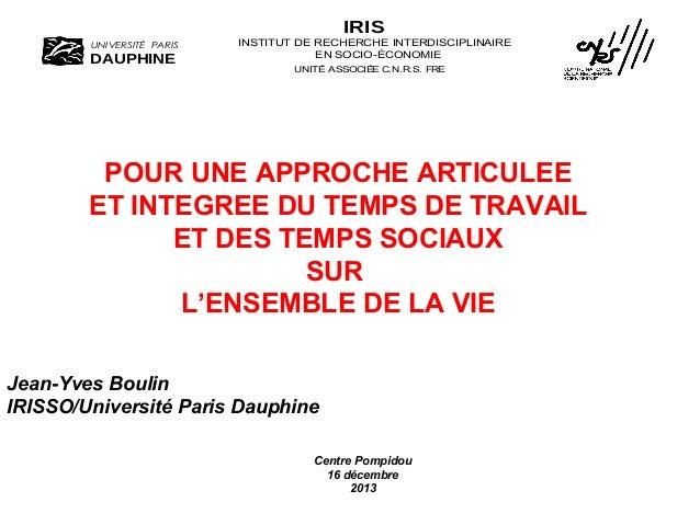 IRIS UNIVERSITÉ PARIS  DAUPHINE  INSTITUT DE RECHERCHE INTERDISCIPLINAIRE EN SOCIO-ÉCONOMIE UNITÉ ASSOCIÉE C.N.R.S. FRE2 1...