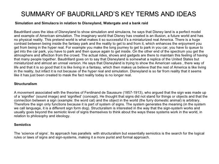 baudrillard hyperreality essay Talk:hyperreality this as a constrast i am working on a short essay based on highlighting of husserl baudrillard's idea of hyperreality was heavily.