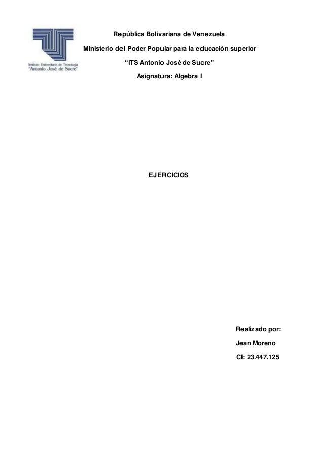 """República Bolivariana de Venezuela Ministerio del Poder Popular para la educación superior """"ITS Antonio José de Sucre"""" Asi..."""