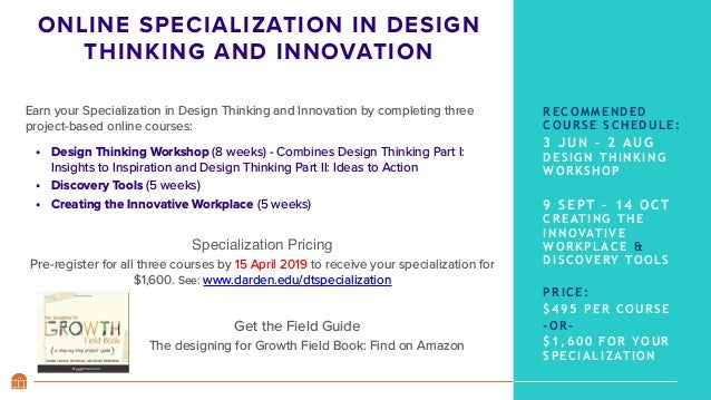 ONLINE SPECIALIZATION IN DESIGN THINKING AND INNOVATION Earn your Specialization in Design Thinking and Innovationby comp...
