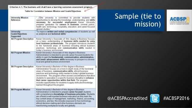 Sample (tie to mission) @ACBSPAccredited #ACBSP2016 Criterion 4.1. The business unit shall have a learning outcomes assess...
