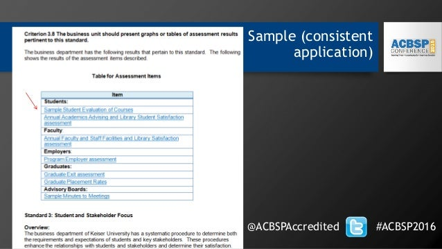 Sample (consistent application) @ACBSPAccredited #ACBSP2016