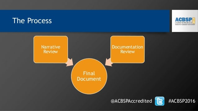 The Process Final Document Narrative Review Documentation Review @ACBSPAccredited #ACBSP2016