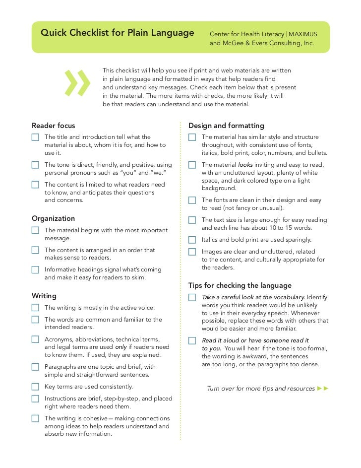 Quick Checklist for Plain Language                             Center for Health Literacy | MAXIMUS                       ...