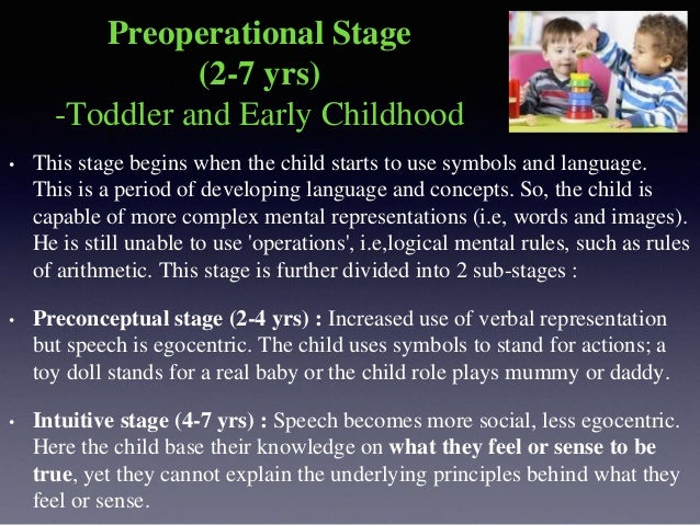 The following are the key features of this stage : • Egocentrism: The child's thoughts and communications are typically eg...