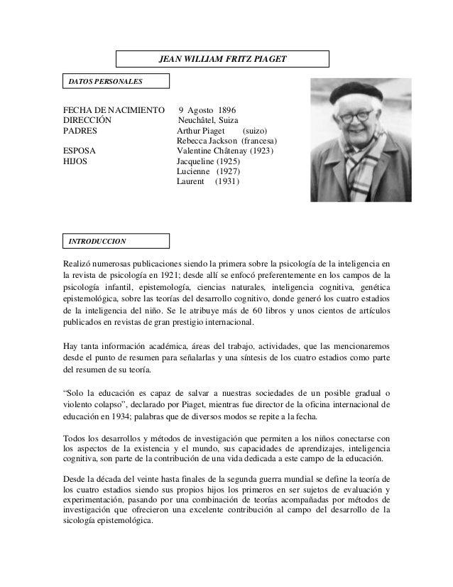 FECHA DE NACIMIENTO 9 Agosto 1896 DIRECCIÓN Neuchâtel, Suiza PADRES Arthur Piaget (suizo) Rebecca Jackson (francesa) ESPOS...
