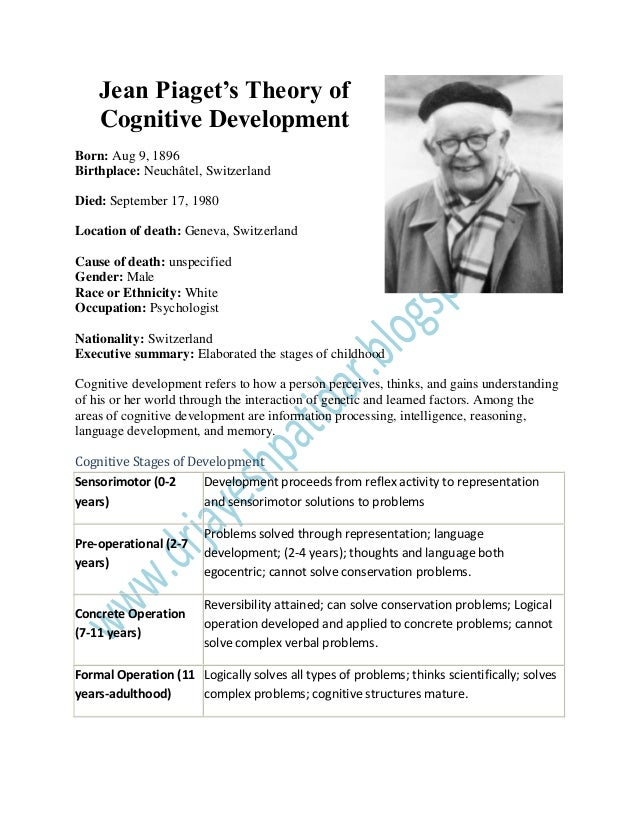theory of cognitive development and jean piaget essay Jean piaget research paper piaget - angelfire piaget contended that cognitive development can be divided into four stages this essay will examine each stage individually and then evaluate piagets theories by exploring some of the major criticisms and supporting views.